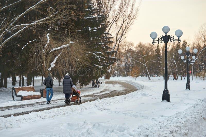 I giovani genitori stanno camminando nel parco fotografia stock libera da diritti