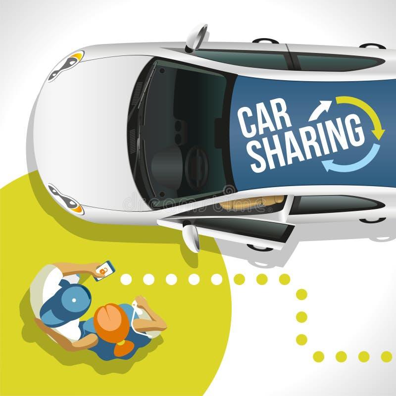 I giovani hanno trovato l'automobile libera di servizio di un car sharing illustrazione vettoriale