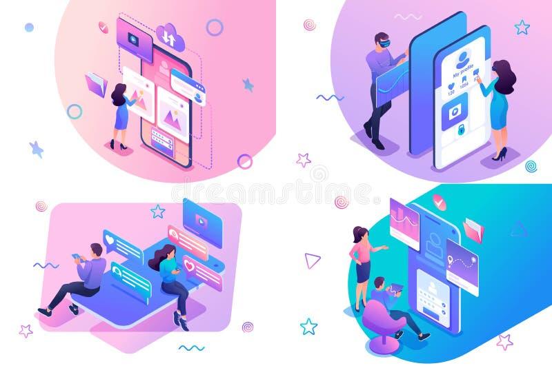 I giovani isometrici usano applicazioni mobili sui social network Per lo sviluppo di siti Web e siti mobili royalty illustrazione gratis