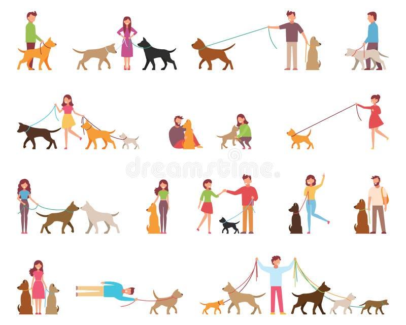 I giovani sono cani di camminata E Il cane è accanto al suo proprietario su un guinzaglio Illustrazione di vettore in un piano illustrazione di stock