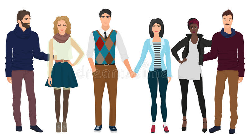 I giovani tipi bei con le belle ragazze modella le coppie in vestiti moderni casuali di modo Coppie della gente illustrazione di stock