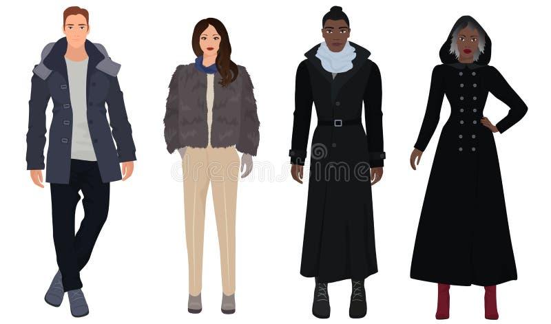 I giovani tipi bei con le belle ragazze modella in vestiti moderni casuali caldi di modo dell'inverno Rebecca 36 illustrazione vettoriale