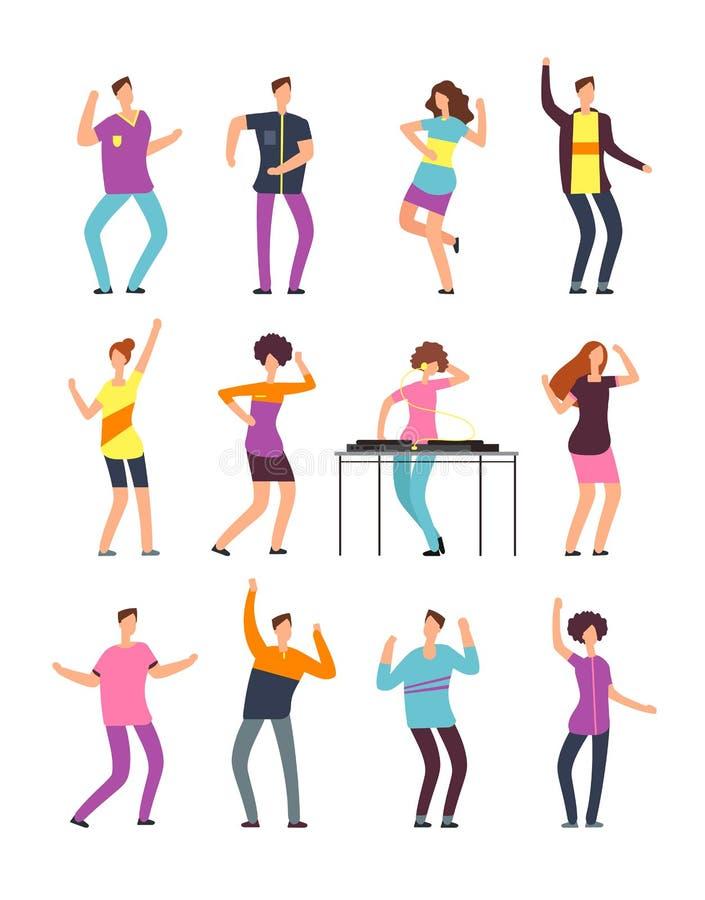 I giovani uomini e le donne divertenti che ballano all'estate fanno festa Gente amichevole nella vacanza Personaggi dei cartoni a illustrazione vettoriale
