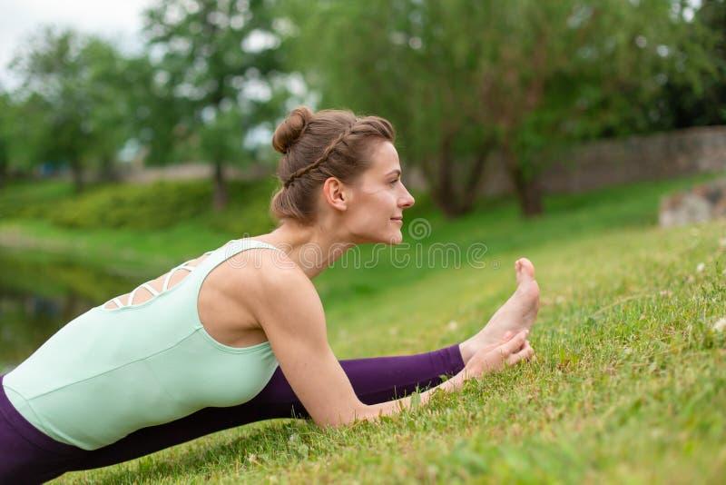 I giovani Yogi castana snelli si esercitano stimolanti di yoga sull'erba verde nell'estate contro il contesto della natura fotografia stock libera da diritti