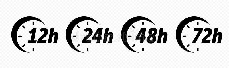 12, 24, 48 i 72 godziny, osiągają strzałkowate wektorowe ikony Doręczeniowa usługa, online dylowi pozostali czas strony interneto royalty ilustracja