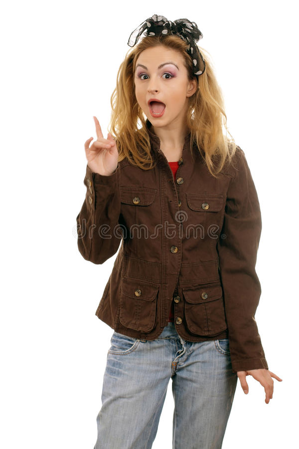 I got an idea. Surprised young blonde woman isolated on white background royalty free stock photos