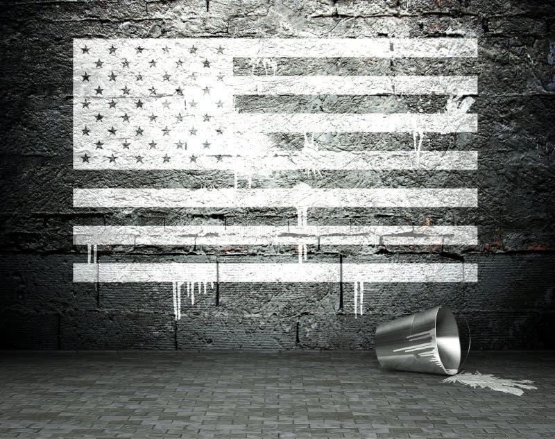 I graffiti murano con la bandiera di U.S.A., fondo della via illustrazione di stock