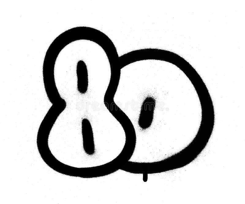 I graffiti numerano 80 ottanta spruzzati nel nero sopra bianco illustrazione vettoriale