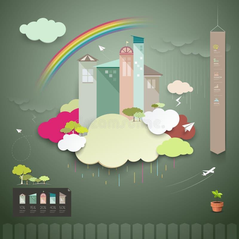 I grafici di informazioni tendono la casa per il mare piovoso annuale illustrazione vettoriale