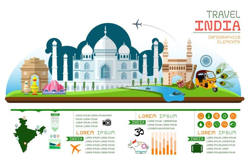 I grafici di informazioni viaggiano e la progettazione del modello dell'India del punto di riferimento illustrazione vettoriale