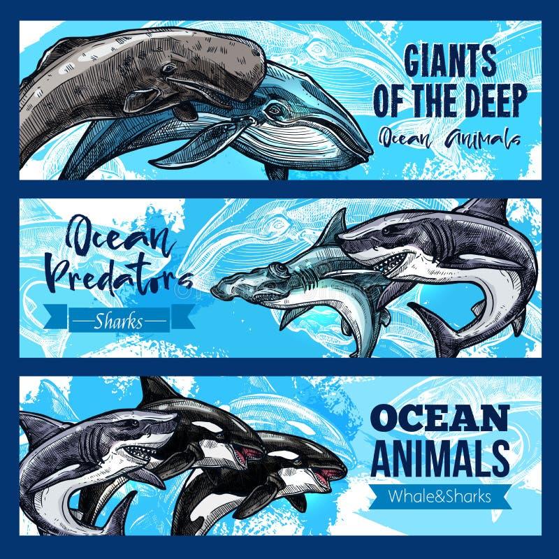 I grandi animali giganti di in profondità ocaen le insegne di vettore messe illustrazione di stock