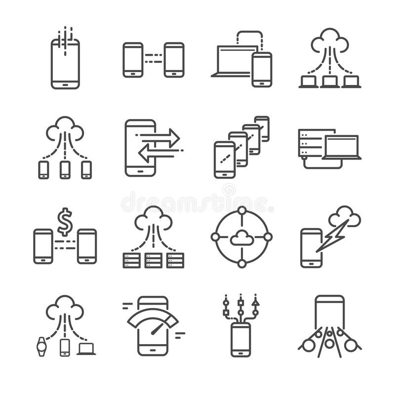 I grandi dati e trasferimento di dati hanno collegato la linea insieme di vettore dell'icona Contiene tali icone come la nuvola,  illustrazione di stock