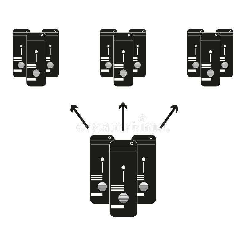 I grandi dati quattro computer sono divisi fra se stessi icona nera di vettore su fondo bianco royalty illustrazione gratis