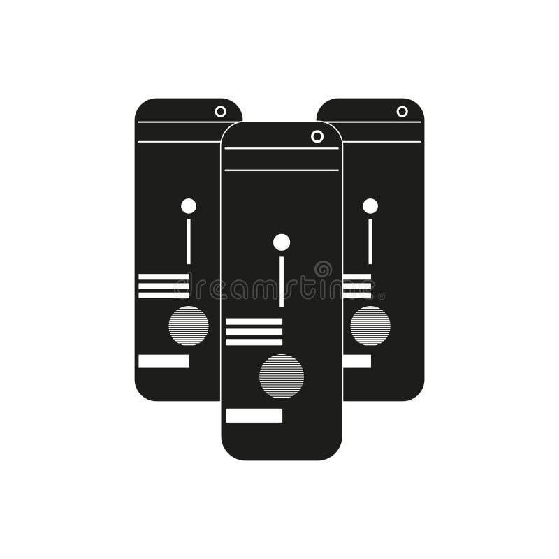 I grandi dati tre computer Vector l'icona nera su fondo bianco illustrazione di stock