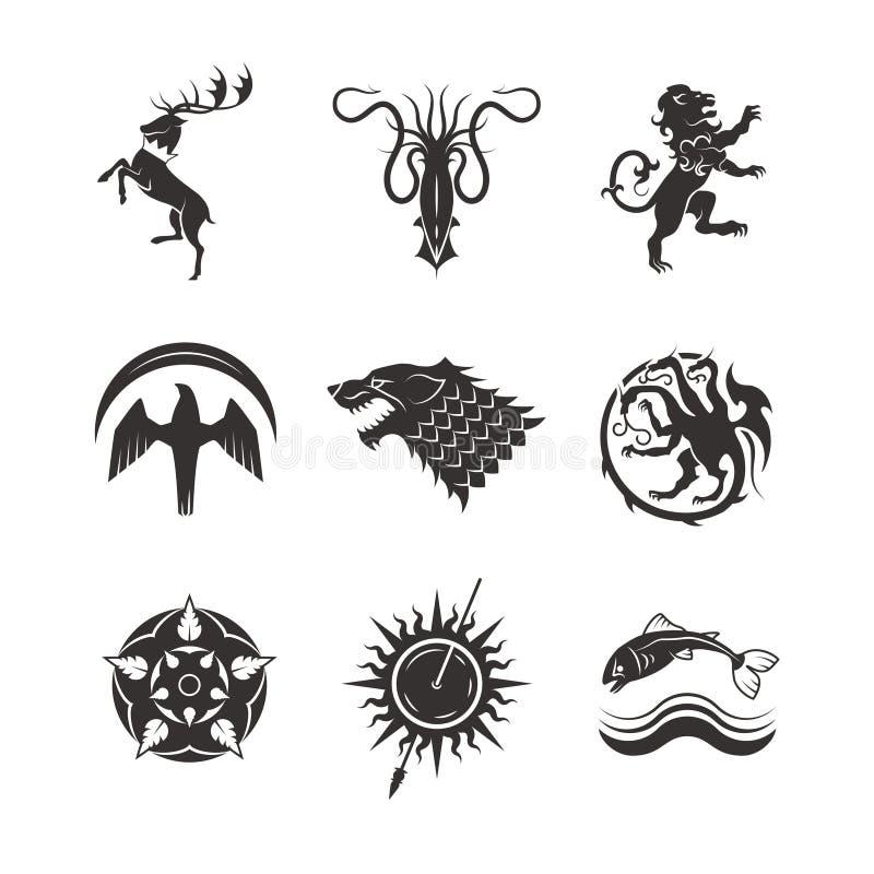 I grandi regni alloggia le icone araldiche di vettore di gioco con la linea animali ed i simboli del trono illustrazione di stock