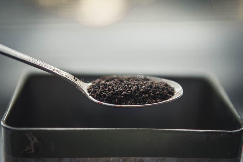 I granelli asciugano il tè nero fotografie stock libere da diritti