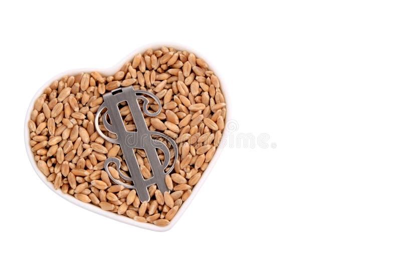 I grani del grano si trovano in un piatto in forma di cuore Simbolo del dollaro americano Isolato su bianco Il concetto delle rel fotografia stock libera da diritti
