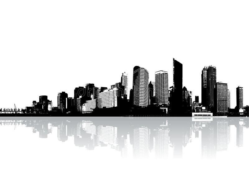 I grattacieli hanno riflesso sull'acqua royalty illustrazione gratis