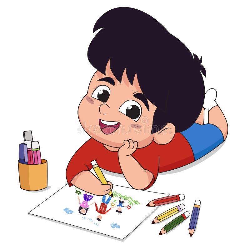 I grupp drar barnen på papper i fantasin av både trä och vattenfärgen stock illustrationer