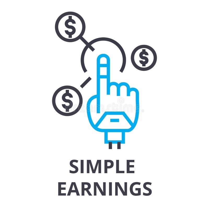 I guadagni semplici assottigliano la linea l'icona, il segno, il simbolo, il illustation, il concetto lineare, vettore illustrazione di stock