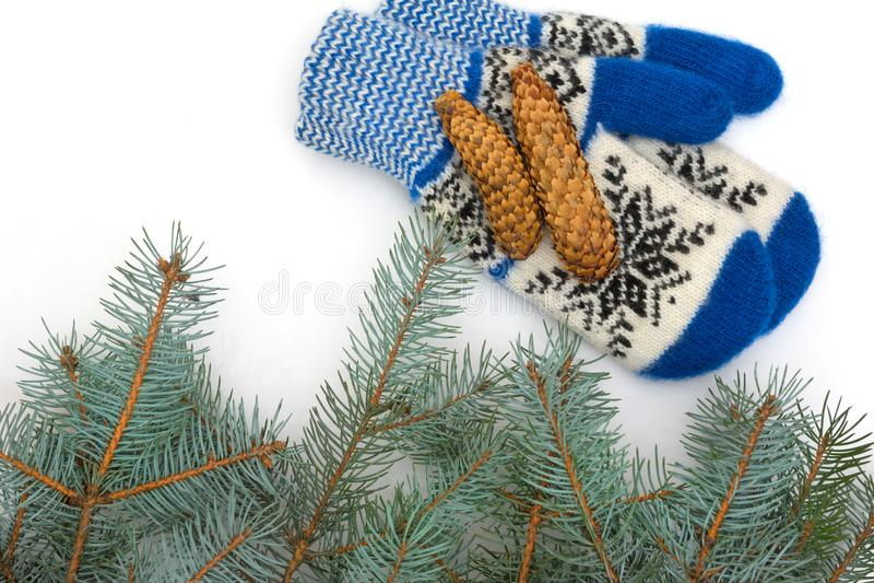 I guanti di Natale sono isolati su un fondo bianco fotografie stock
