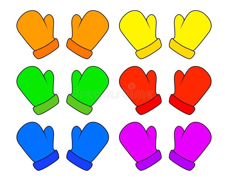 I guanti messi, guanti di Natale del fumetto progettano, icona, simbolo Illustrazione di vettore di inverno isolata su fondo bian illustrazione di stock
