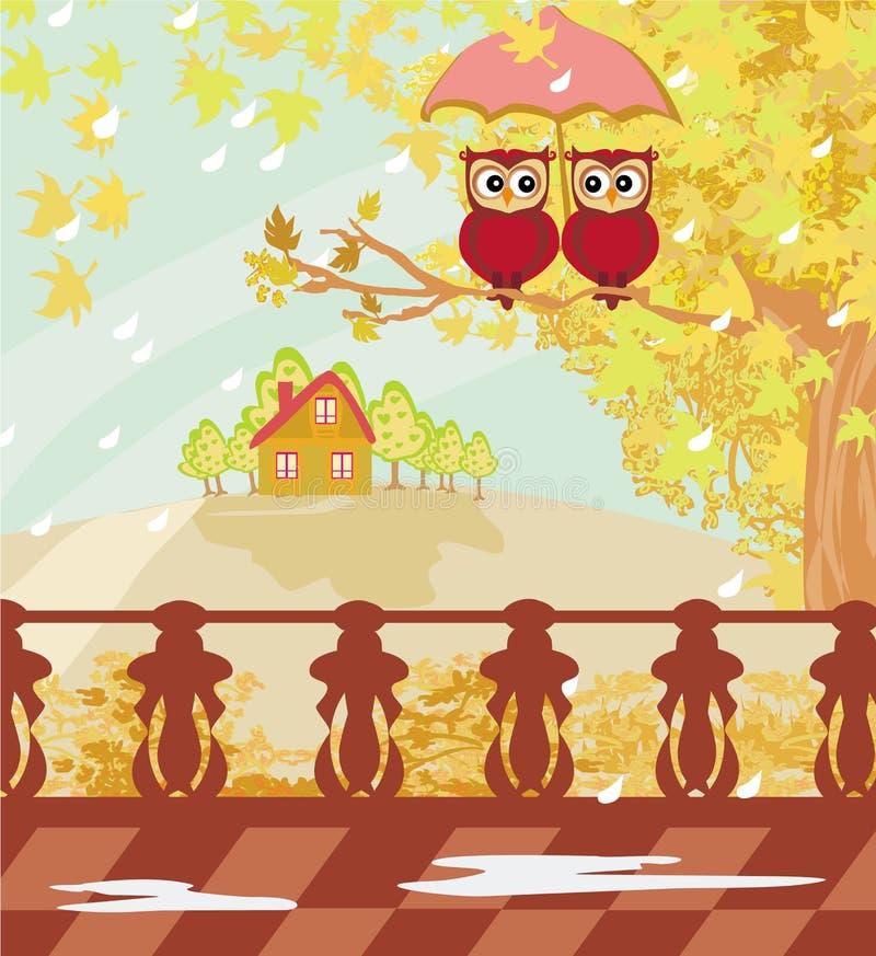 I gufi si accoppiano sotto l'ombrello, il giorno di autunno illustrazione vettoriale