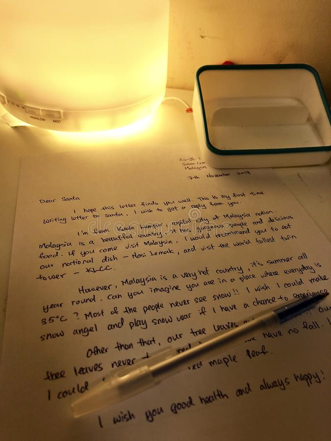 Letter to Santa Claus with Romantic light royalty free stock photo
