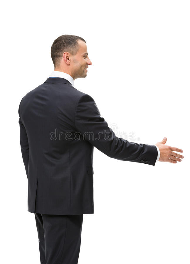 I halvfigur profil av affärsmanhandshaking royaltyfria foton