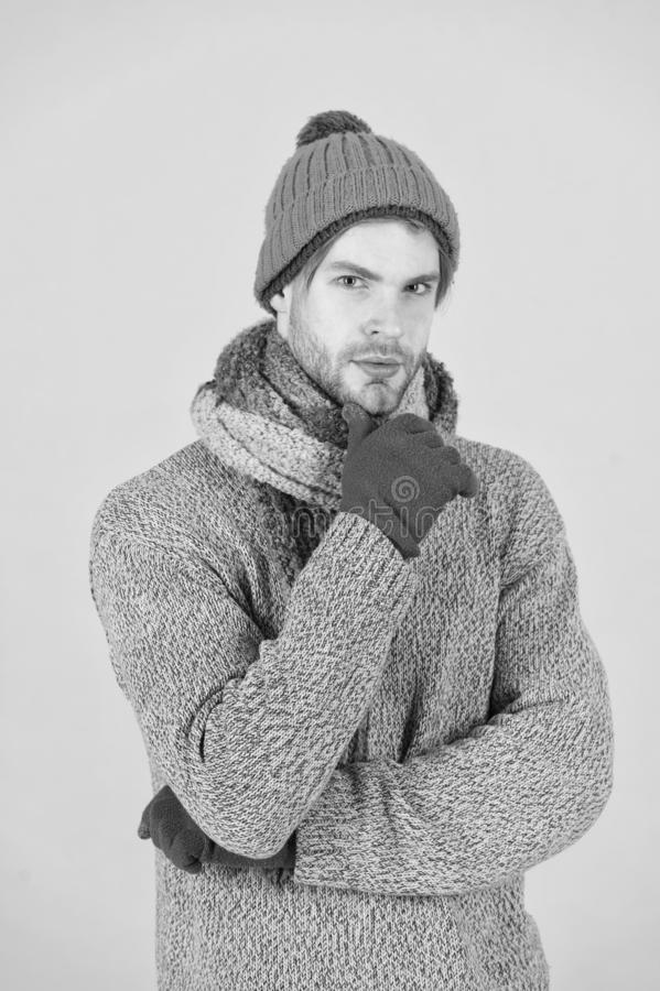 I hate cold. Man wear winter clothes. Man ready to celebrate winter holiday. Keeping you warm this holiday season. Kick. Cold before it kicks you stock photos