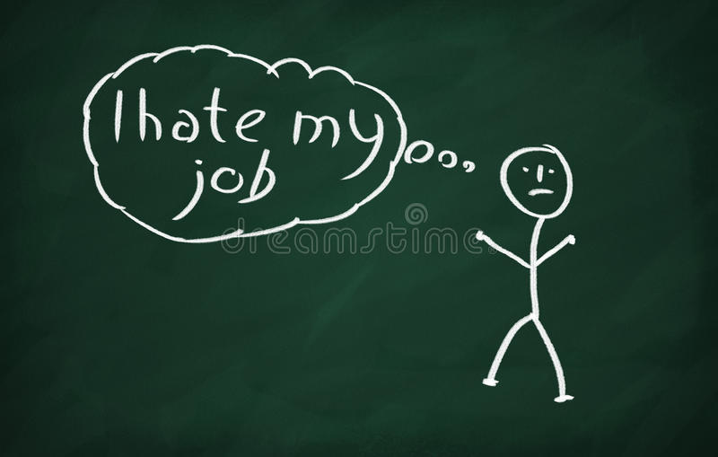 I Hate My Job. On the blackboard draw character and write I Hate My Job vector illustration