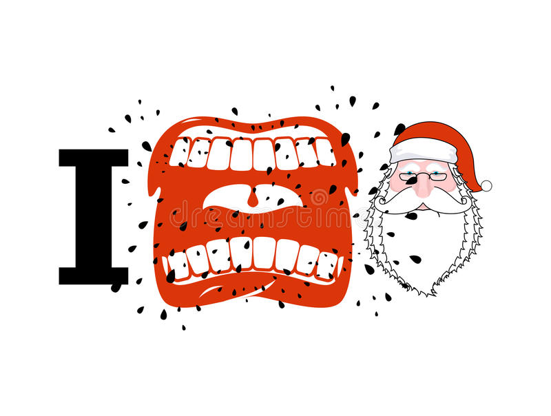 I hate Santa. shout symbol of hatred face Santa Claus. Aggressive Open mouth. Yelling and cursing stock illustration