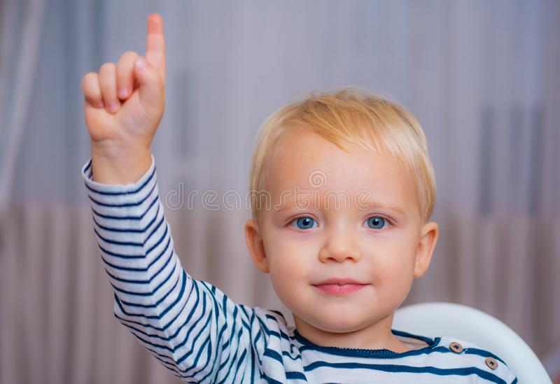 I have excellent idea. Boy cute toddler blue eyes pointing upwards index finger. Creative idea concept. Brilliant stock photography
