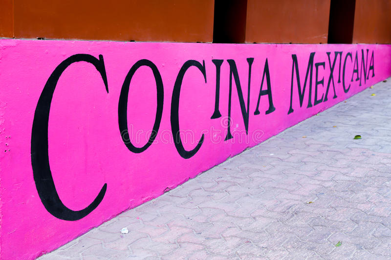 I have a hungry Mexican. A simple inscription of a Mexican restaurant in playa del carmen stock image