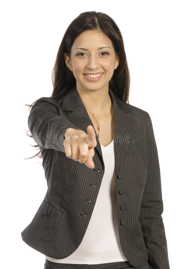 I have my eyes on you. Young business woman pointing at you with a smile