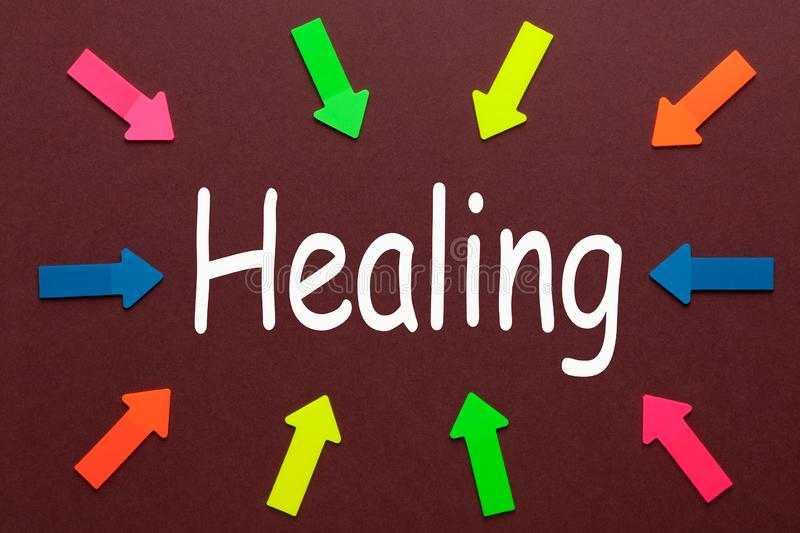I Am Healing. Colorful arrows pointing to text `Healing`. Business Concept vector illustration