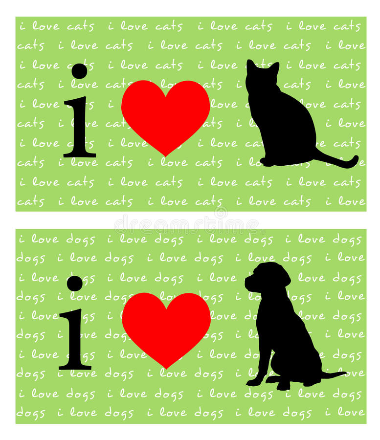 Download I Heart Cats and Dogs stock illustration. Illustration of black - 16380962