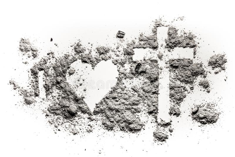 I, heart and cross or crucifix drawing in ash royalty free stock photography