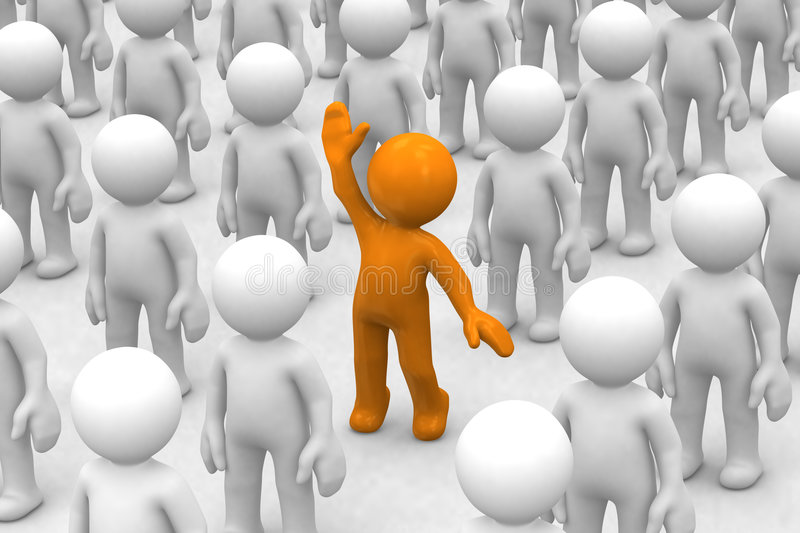 I am here!. 3d human who is different from the crowd