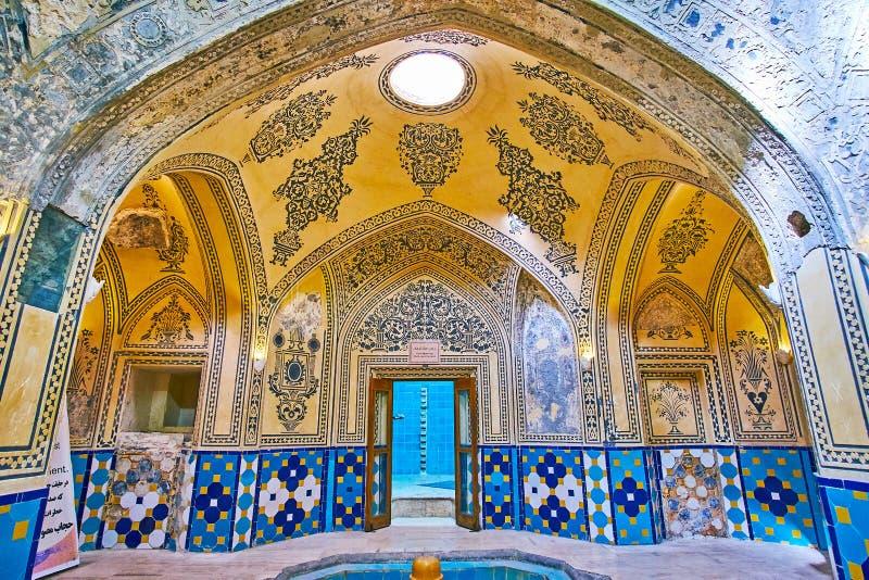 I historiska Hammam av Kashan Iran royaltyfri fotografi