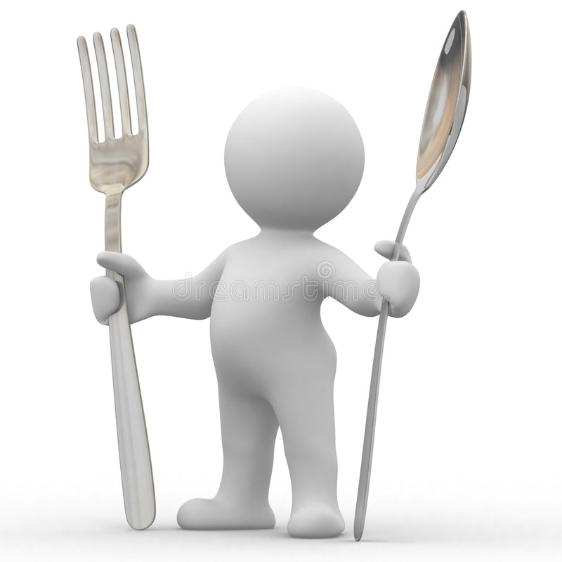 I am hungry. 3d cute people very hungry with big spoon and fork