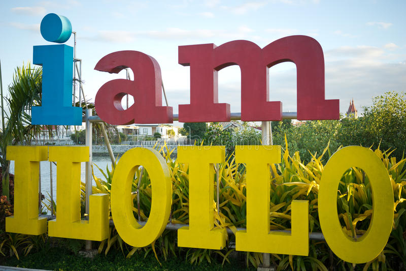 I am Iloilo. A sign saying I am Iolilo displayed along the esplanade beside the Iloilo River in the Philippines. The esplanade was constructed last August 2012 royalty free stock photo