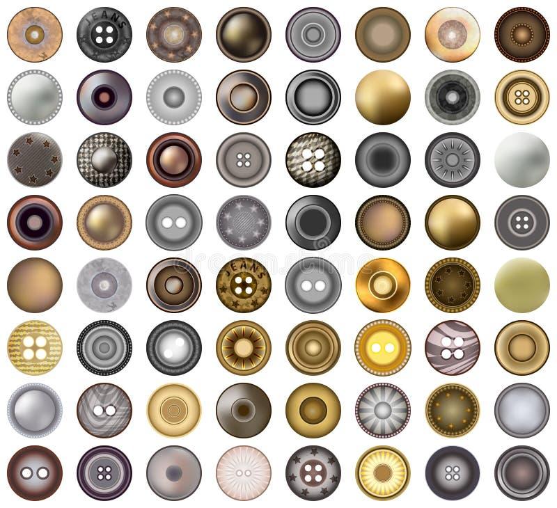 I jeans realistici bottone o ribattini rotondi del metallo degli accessori hanno messo l'elemento di web design Illustrazione di  illustrazione vettoriale