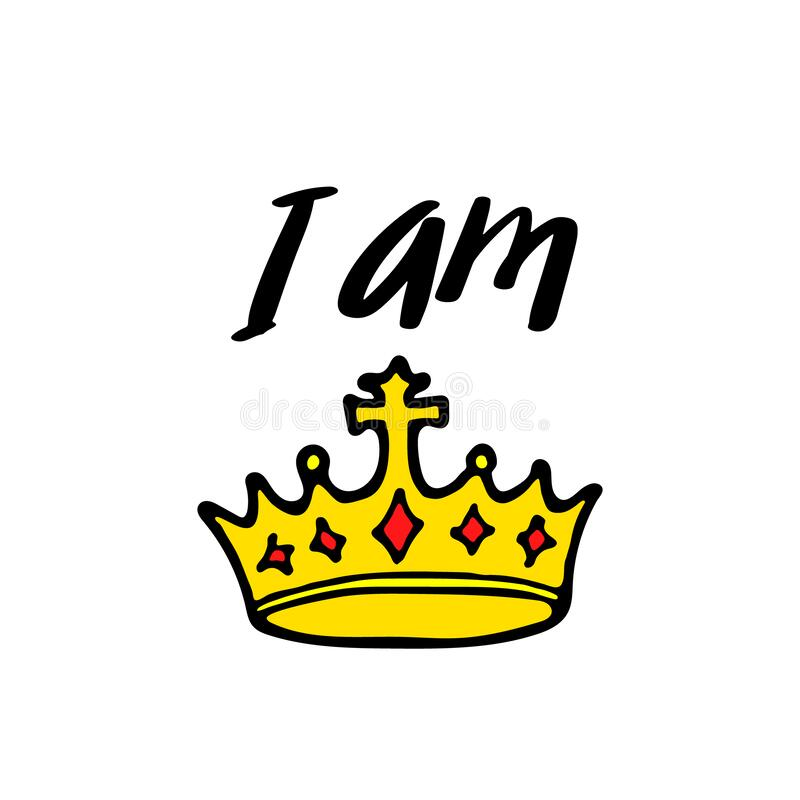 I Am King Print With Crown Simple Poster Design Cartoon Lettering Vector Illustraton Stock Vector Illustration Of Queen Letter 181482814 Get commercial use crown graphics and vector designs. dreamstime com
