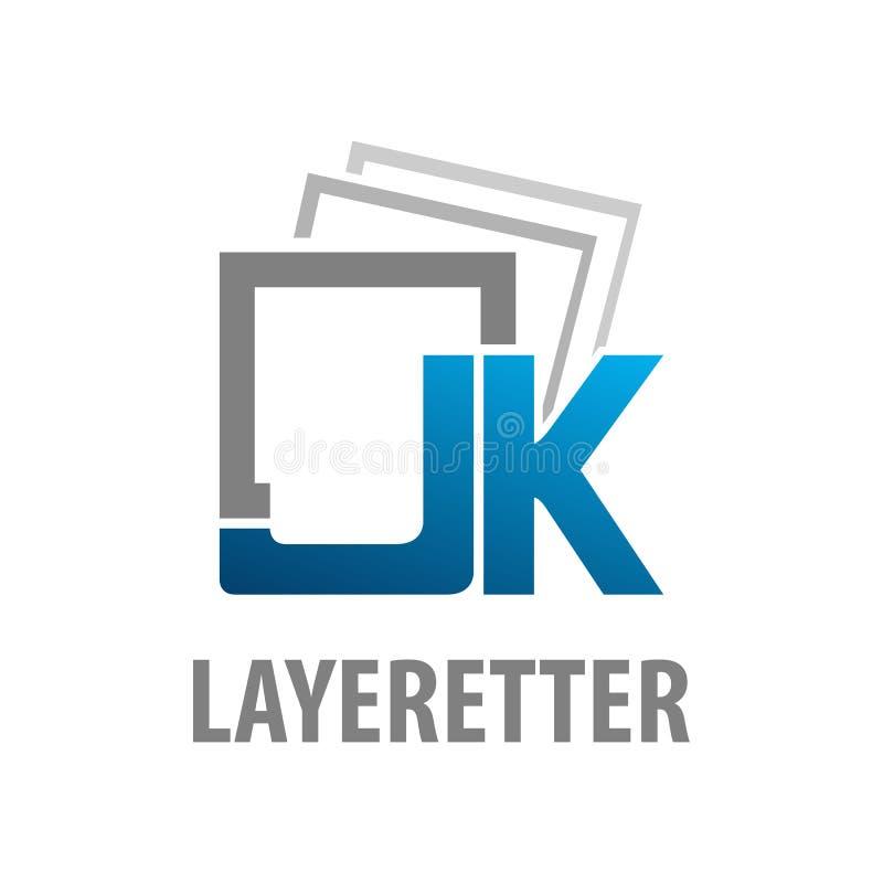 I lager för logobegrepp för initial bokstav JK design Grafisk mallbeståndsdel för fyrkantigt symbol stock illustrationer