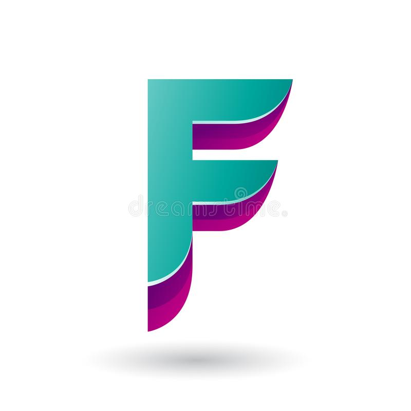 I lager gräsplansymbol för perser 3d för vektorillustration för bokstav F stock illustrationer