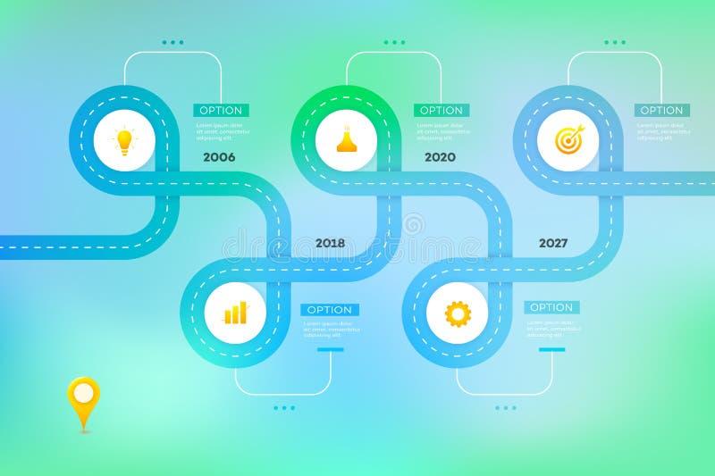 I lager Infographic Timeline Vektorkretsschema, mall för den moderna affärspresentationen, årsrapporter, orienteringar royaltyfri illustrationer