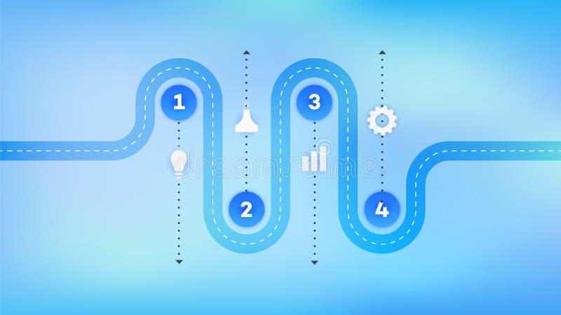 I lager Infographic Timeline Vektorkretsschema, mall för den moderna affärspresentationen, årsrapporter, orienteringar stock illustrationer