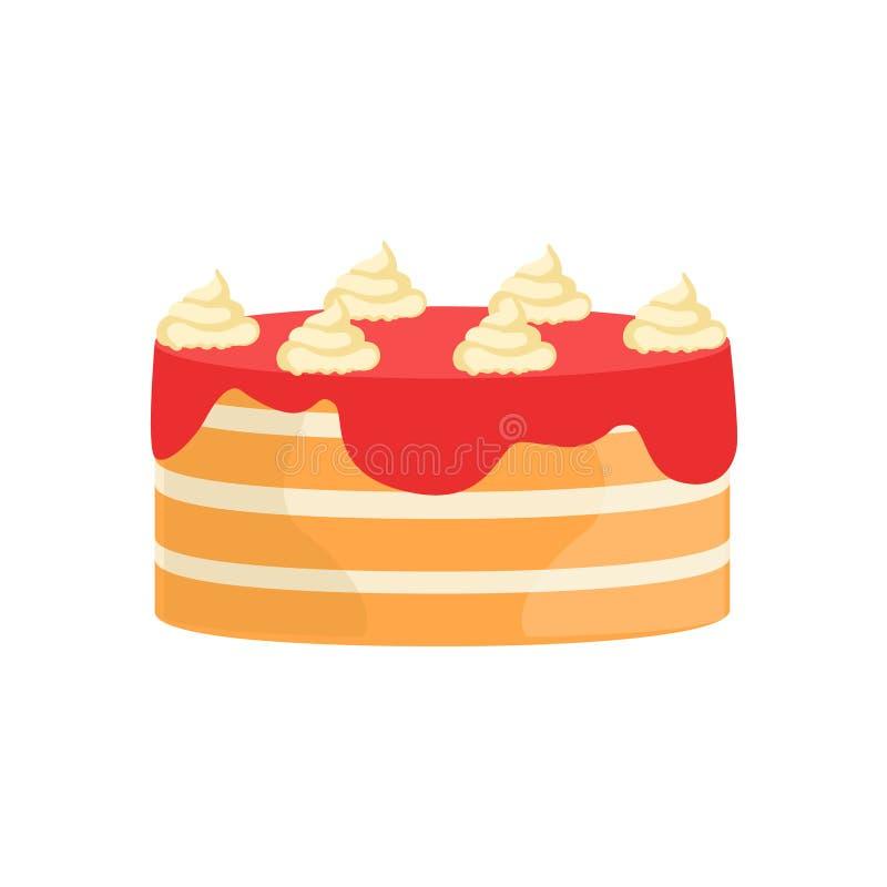 I lager kaka med efterrätten för parti för specialt tillfälle för jordgubbesirap den dekorerade stora för att gifta sig eller föd stock illustrationer