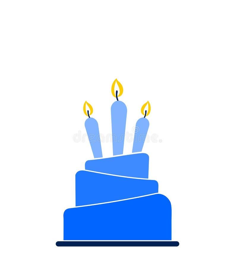 I lager kakasymbol för blå ombre med tre tända stearinljus som isoleras på vit bakgrund vektor illustrationer
